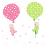 Twin baby arrival card with balloon greeting Royalty Free Stock Image