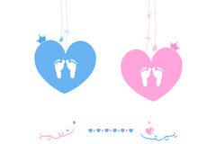 Twin baby boy and girl heart with crown baby foot Royalty Free Stock Photos
