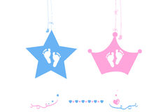 Twin baby boy and girl star with crown baby foot print vector Stock Photography