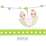 Twin baby boy and girl with umbrella baby shower card Royalty Free Stock Image