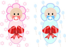 Twin Baby Boy And Girl . Vector illustration Stock Images