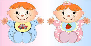 Twin Baby Boy And Girl.Vector illustration Two Royalty Free Stock Photography