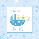 Twin Baby Boys in Buggy. Vector of Twin Baby Boys in Buggy with Decorative Border Royalty Free Stock Photography