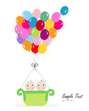 Twin baby with colorful balloon baby shower greeting card Stock Photos