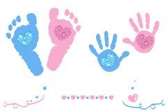 Twin baby girl and boy feet and hand print arrival card pink, blue colored with shining diamonds hearts. Background stock illustration