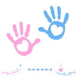 Twin baby girl and boy hand prints arrival greeting card vector Stock Photography