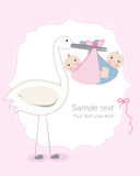 Twin baby girl and boy with stork baby arrival greeting card. Vector Stock Image