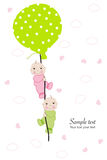 Twin baby hold balloon baby shower greeting card Royalty Free Stock Images
