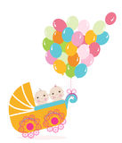 Twin baby stroller with balloon. Baby shower greeting card vector illustration Stock Images