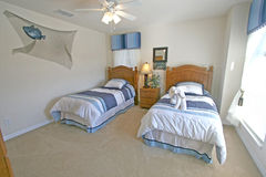 Twin Bedroom. A Twin Bedroom in a House in Florida Stock Images