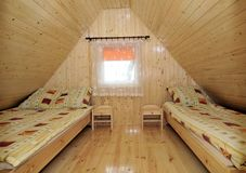 Twin bedroom in cabin Stock Image