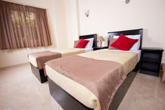 Twin beds in a bedroom Royalty Free Stock Photo