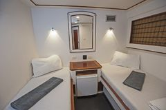 Cabin in a luxury private motor yacht Stock Images