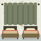 Twin Beds In Front Of Curtain And Brick Wall Stock Photography