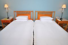 Twin beds in hotel Stock Images