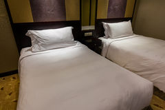 Twin beds in hotel Royalty Free Stock Photo