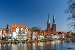 Twin bell-towers of the medieval Gothic church in Lubeck stock image