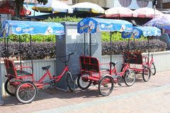 Twin bikes for rent, Cheung Chau Island, Hongkong Royalty Free Stock Photos