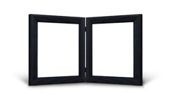 Twin black hinged picture frames Royalty Free Stock Photo