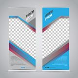 Twin blue roll up banner stand design template stock illustration