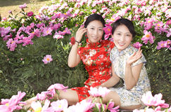 Twin born sisters in flower Stock Photo