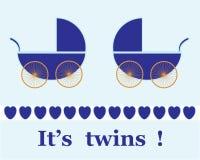 Twin Boys Arrival Announcement card royalty free stock photos