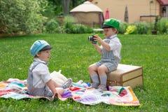 Twin boys photo shoot Royalty Free Stock Image
