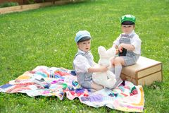 Twin boys photo shoot Royalty Free Stock Photos