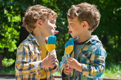 Twin boys tease with tongues Royalty Free Stock Photo