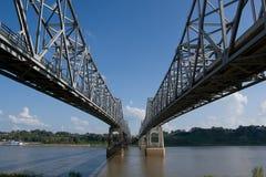 Twin Bridges. Mississippi River Bridges at Natchez royalty free stock photo