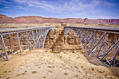 Twin Bridges Crossing the Colorado River Royalty Free Stock Photo