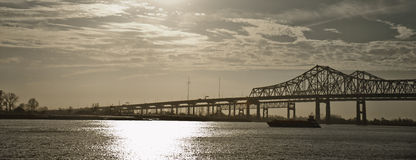 Twin bridges over Mississippi River, New Orleans Royalty Free Stock Photography