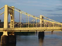 Twin Bridges in Pittsburgh. Twin bridges in late afternoon light.  Pittsburgh Pennsylvania Stock Photo