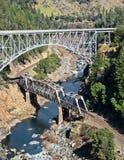 Twin Bridges at Pulga. Pulga Twin Bridges, Feather River Canyon in Northern California Royalty Free Stock Photo