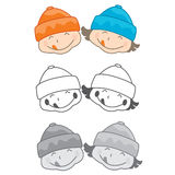 Twin Brother and Sister. In Winter Hat Royalty Free Stock Photo