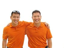 Twin brothers. Identical twin brothers in a display of solidarity Royalty Free Stock Photo