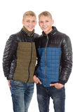 Twin brothers in autumn clothes Royalty Free Stock Photos