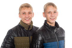 Twin brothers in autumn jacket Royalty Free Stock Photo