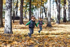 Twin brothers in autumn ouside in the park stock photos