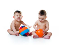 Twin brothers with the balls Royalty Free Stock Photo