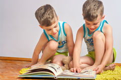 Twin brothers with book Stock Image