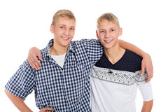 Twin brothers are embracing Royalty Free Stock Image