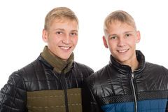 Twin brothers in fall clothes Royalty Free Stock Photo