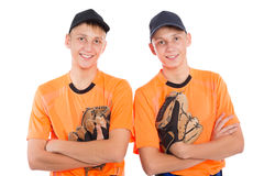 Twin brothers in the form of a baseball game Stock Photography