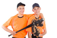 Twin brothers in the form of a baseball game Stock Photos