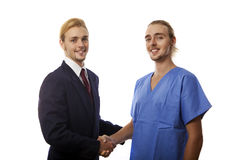 Twin brothers shaking hands Stock Image