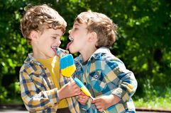 Twin brothers tease each other with tongues. Three year old identical twins holding candys in colors of Ukrainian flag. Candy shows the Ukrainian Trident Stock Image