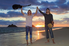Twin brothers with their guitar and drum Stock Images
