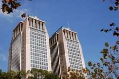 Twin building. Guanghua twin building in Fudan University Royalty Free Stock Images