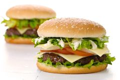 Twin Burgers Royalty Free Stock Images
